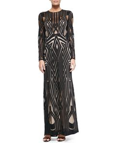 Veira+Long-Sleeve+Patterned+Mesh+Gown+by+BCBGMAXAZRIA+at+Neiman+Marcus.