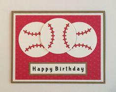 "Handmade ""Baseball"" Happy Birthday Card, Grand Slam, Baseball, Birthday by JuliesPaperCrafts on Etsy"