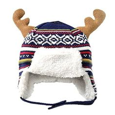 Boys Girls Kids Winter Hats Christmas Hats with Earflaps Beanie Hat Moose Antlers Bomber Hat, Head Girth), Blue. Material: cotton,fleece lining. Soft,warm and stretch fitted. Kids Winter Hats, Moose Antlers, Cotton Fleece, Blue Check, Outdoor Outfit, Cute Designs, Beanie Hats, Boy Or Girl, New Baby Products