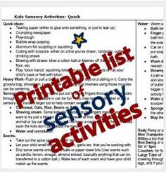 Pinterest Therapy Resource of the Week – 2 Page Printable List of Sensory Activities - Pinned by @PediaStaff – Please Visit http://ht.ly/63sNt for all our pediatric therapy pins