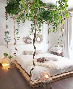 Urban Jungle Room with pallet bed. Urban Jungle Room with palle Dream Rooms, Dream Bedroom, Home Bedroom, Bedroom Ideas, Modern Bedroom, Bedroom Furniture, Bedroom Inspiration, Bedroom Designs, Garden Bedroom