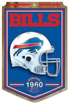 "Buffalo Bills Wood Sign - 11""x17"" Established Design"
