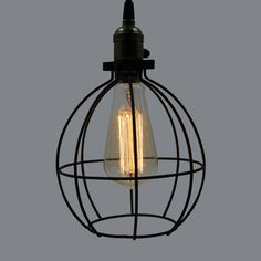 YOBO Lighting Vintage Industrial Edison Filament 1-light Black Wire Opening Arc Cage Pendant Light, Hanging Lamp for Living Room - - Amazon.com $20