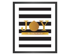 Christmas Printable Art - Instant Download Digital Art Print - Joy to the World - Faux Gold Foil
