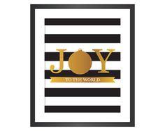 Christmas Printable Art - Instant Download Digital Art Print - Joy to the World - Faux Gold Foil