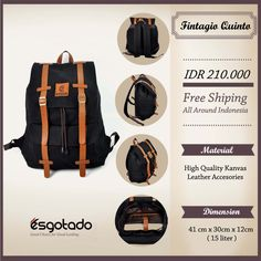 "Fintagio Quinto Black IDR 210.000 Free Shipping All Around Indonesia Material High Quality Canvas Faux Leather Accessories Dimension 41x30x12cm 15 Liter 14"" inch Laptop Sleeve"