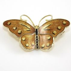 Vintage Hroar Prydz Sterling Silver Modernist Enamel Butterfly Pin Brooch #HroarPrydz