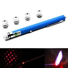 4mw+650nm+Red+Beam+Laser+Stage+Pen+&+5+Laser+Light+Patterns,+Built-in+Battery+-+Blue