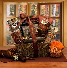 A Camo Gift Set includes; Camouflage gift box, camouflage insulated cup, camouflage parachute cord bracelet, camouflage stress ball, Mighty Hunter deluxe snack mix, camouflage bandana, Lode gourmet coffee, barbecue chips, chocolate covered almonds, sliced summer sausage, crunchy trail mix,... more details available at https://perfect-gifts.bestselleroutlets.com/gifts-for-holidays/grocery-gourmet-food/product-review-for-just-for-the-camo-man-gift-box/