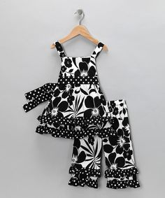Take a look at this Black Floral Tunic & Pants - Toddler & Girls by AnnLoren on #zulily today!