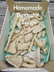 Kitchen Floor Crafts: Homemade Dinosaur Bones- make bones with salt dough and use them as an anatomy lesson - amazing post!! Click for details