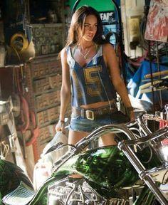 Megan fox with a Harley