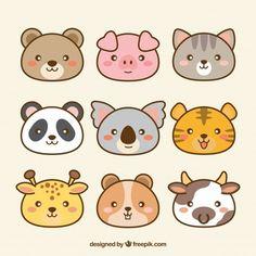 natur animals Pack of hand drawn kawaii animals Free Vector Cute Easy Drawings, Mini Drawings, Cute Kawaii Drawings, Cute Animal Drawings, Cartoon Drawings, Chat Kawaii, Kawaii Art, Doodle Art, Doodles Kawaii