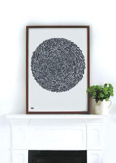 NEST Circular Motif in Sheer Slate - decorative screen print. $69.00, via Etsy.