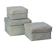 Set de 3 cajas de junco - azul