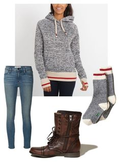 """""""Ha looks like a sock monkey idk what I'm doing"""" by panarin ❤ liked on Polyvore featuring Hollister Co. and Frame Denim"""
