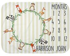 Baby Month Milestone Blanket- Boy or Girl - Personalized Baby Blanket - Woodland Animal Blanket - Milestone Marker Diy Wedding Buffet, Marker, Best Baby Blankets, Baby Boy Nurseries, Nursery Themes, Baby Boy Shower, Baby Toys, Boy Or Girl, New Baby Products