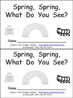 "This emergent reader little book is a great way to begin reading with young students.     This story uses a predictable pattern, ""Spring, Spring, what do you see?"" to support emerging readers. This story includes several Spring vocabulary words, such as caterpillar, butterfly, ladybug, rainbow, and umbrella.    This book includes the same text on both the top and bottom of each sheet of paper to make copying, sorting, stapling, and cutting easy to create a class set of little books!!"