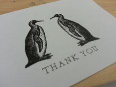 Letterpress Penguin Thank you Card - Wolf & Ink Letterpress Wedding Stationery, Wedding Invitations, Penguin, Thank You Cards, Wolf, Ink, Projects, Prints, Inspiration
