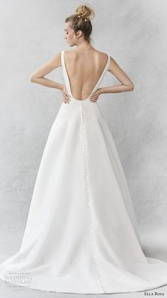 ella rosa spring 2017 bridal sleeveless bateau neck simple clean a line wedding dress open ultra low back sweep train (375) bv