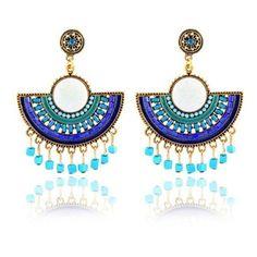 's Bohemian Earrings Sector Rhinestone Tassel Earrings ($7.33) ❤ liked on Polyvore featuring jewelry, earrings, boho jewelry, blue tassel earrings, bohemian jewellery, blue rhinestone earrings and bohemian style jewelry