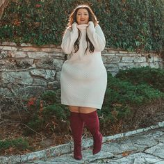 View our Honeycomb Turtleneck Sweater Dress and shop our selection of designer women's plus size Dresses, clothing and fashionable accessories. Plus Size Sweater Dress, Sweater Dress Outfit, Plus Size Sweaters, Sweater Dresses, Maxi Dresses, Fall Fashion Outfits, Casual Fall Outfits, Autumn Fashion, Fashion Clothes