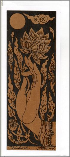 Thai traditional art Hand Of Buddha by silkscreen by AmornGallery, ฿69.00