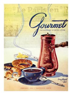 old magazine covers from the condé nast store - gourmet, february 1950