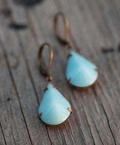 Estate Style Aqua Opaque Glass Teardrop Teal Earrings - Tiffany Blue