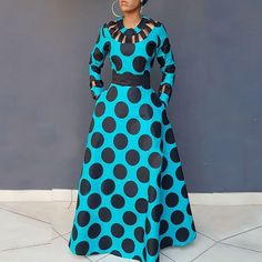 Clocolor Vintage Polka Dot Dress Women Autumn Winter Long Sleeve Printed Tunic Pocket High Waist Afircan Plus Size Maxi Dress Polka Dot Long Dresses, Plus Size Maxi Dresses, Simple Dresses, African Maxi Dresses, African Attire, Dress Silhouette, Vintage Silhouette, Chic Dress, Dot Dress
