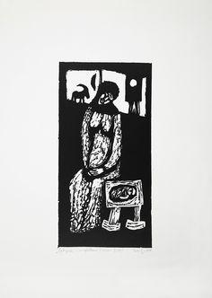 Jerzy Duda Gracz   RODZYNKI Z MIGDAŁAMI, Z CYKLU JUDAICA, 1964   linoryt, papier   18.3 x 9.1 cm