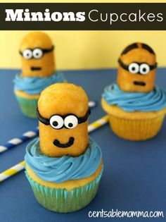 Wow the kids with this Easy Minions Cupcakes recipe.  *Use 1/2 of a Twinkie for the Minion!