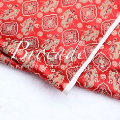 Oriental Fabric. Red Dragon Brocade by fabricAsians on Etsy