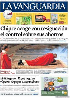 Los Titulares y Portadas de Noticias Destacadas Españolas del 30 de Marzo de 2013 del Diario La Vanguardia ¿Que le parecio esta Portada de este Diario Español?