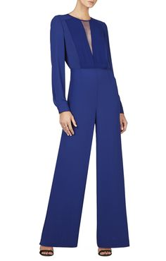 Marcee Long-Sleeve Chiffon-Front Jumpsuit