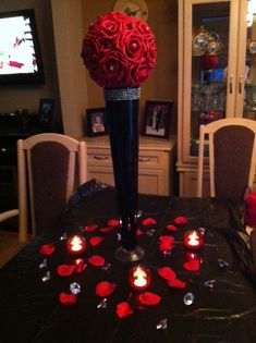 Endless project... :  wedding black diy flowers reception red silver Centerpiece2