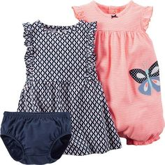 Carter's 2 Piece Romper and Dress Set, Coral, New Born - deal crock pot Carters Baby Clothes, Carters Dresses, Cute Baby Clothes, Carters Baby Girls, Baby Girl Newborn, My Baby Girl, Baby Girl Fashion, Kids Fashion, Toddler Outfits
