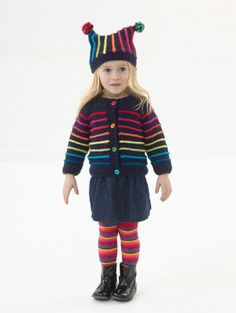 Image of Colorful Cardigan And Hat