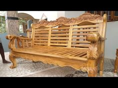 Sofa design - Decoration landscaping architectural and artistic designs & decoration videos Wooden Sofa Set Designs, Wood Chair Design, Wooden Door Design, Furniture Design, Wood Sofa, Teak Wood, Room Partition Designs, Woodworking Furniture Plans, Wood Carving