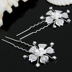 2 Silver Plated Crystal Rhinestone Flower Girl Hair Pin Hairpin $2.89