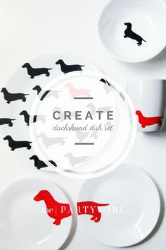 kate spade inspired dachshund plates