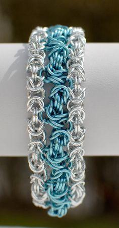 Zigzag Byzantine Bracelet Cuff in Robin's Egg Blue by DaisiesChain, $25.00