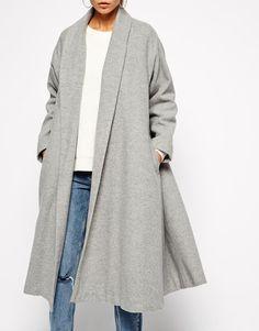 Grey Long Sleeve Lapel Pockets Oversized Coat 49.99