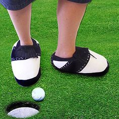 Links Choice Novelty Golf Slippers - Large (10-12) by Links Choice. The Golf Slippers look like big golf shoes!. Will fit UK size 10 to 12 (we have tried them). Perfect gift or present for your Dad Grandad Uncle Nephew Brother Boyfriend Husband Children Teenagers.