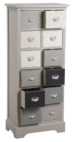 Profitez d'un bel espace de rangement et de tri grâce à cette commode  qui possède 12 tiroirs blancs, gris et noirs. Elle est en pin. Comptez 117 cm de hauteur.
