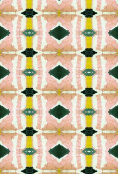 125-3 peach green wallpaper, $5.00 by Lindsay Cowles LLC