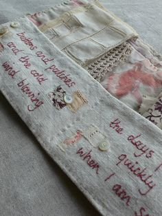 I made this little pocket/purse from the tiniest scrap of embroidered fabric, it was just about the right size to make this - I ca...