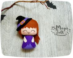 Halloween fieltro decoración poco bruja adorno fieltro juguetes adornos Halloween regalo linda muñeca fieltro Halloween bruja Linda