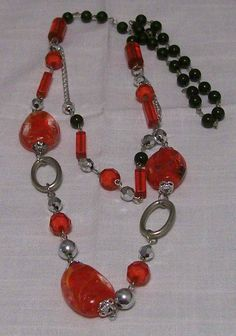 Silver, red and black necklace - A$25.00