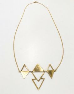 Brass Triangle Reflections Necklace
